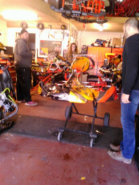 Daniel and Big Brian complete final assembly of the new kart.